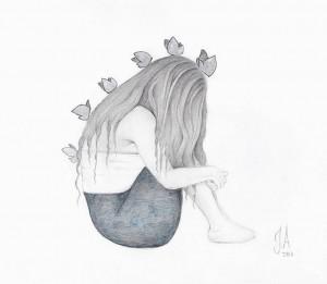 Teckning Ledsen tjej