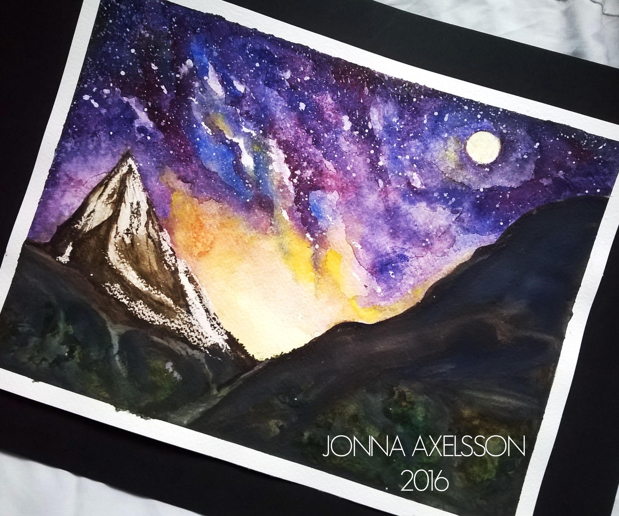 Akvarellmålning berg