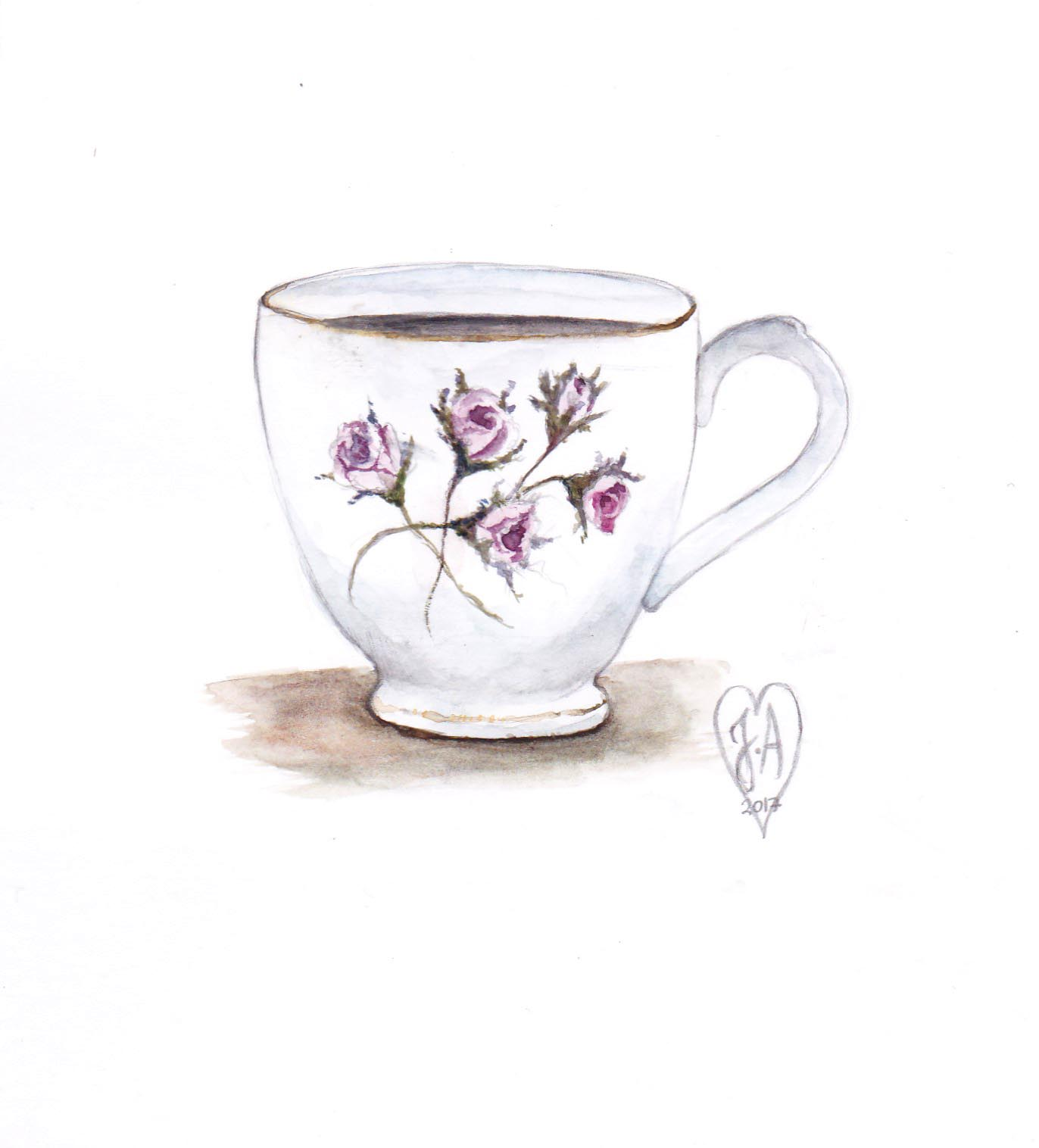 Kopp i akvarell